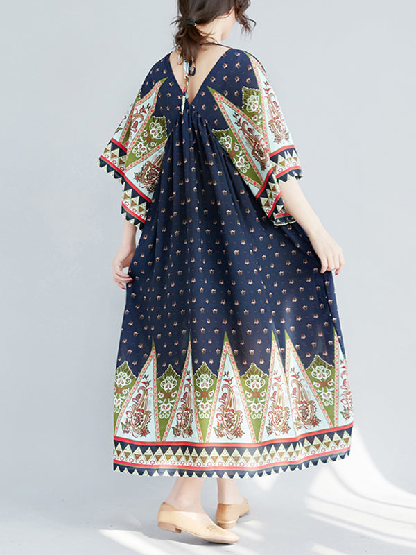 Britney Raglan Sleeves Ethnic Patterned High Waist Midi Dress