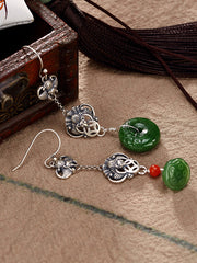 Tonya Luck Imply Silver Jade Ear Pendants with Happiness Relay