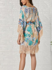 Heart of Gold Tassels Robe Kimono Midi Dress