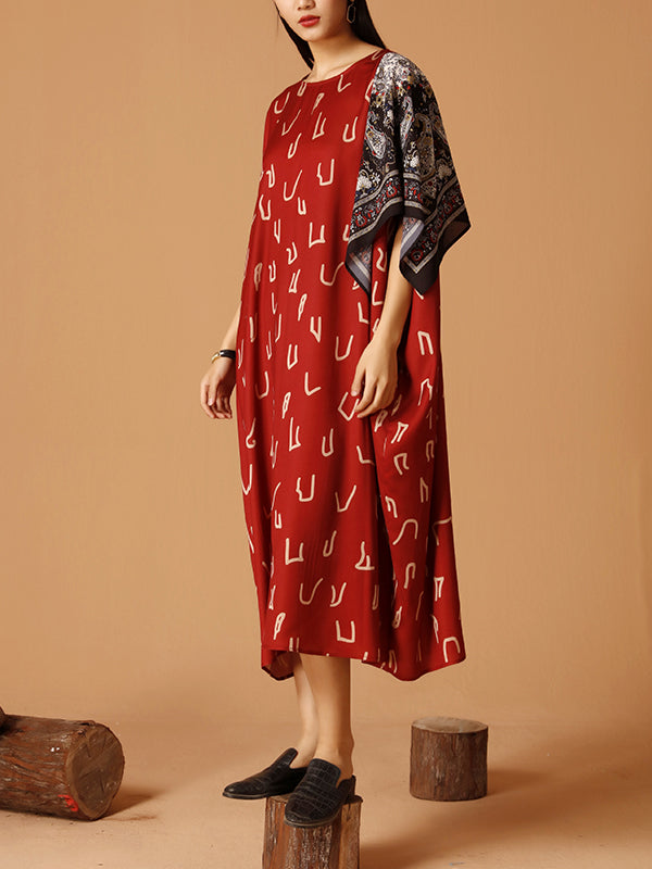 Mystery Hint Bandana Sleeves Silk Midi Dress