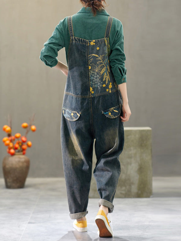Theodosia Denim Ripped Overalls Dungarees