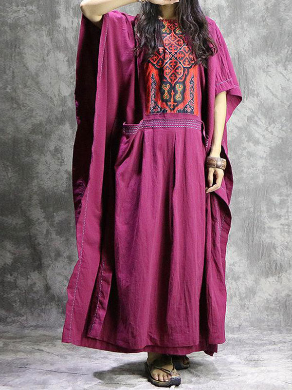 Ethnic Damask Embroidered Kaftan Dress