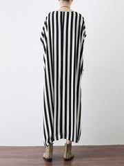 Coastal Stripe Drawstring Plus Size Midi Dress