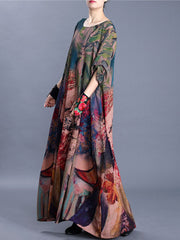 Flame and Flowers Floral Print Maxi Dress