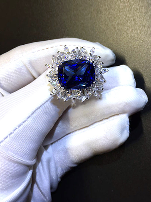 Joanna Vintage Sapphire Ring with Floral Band