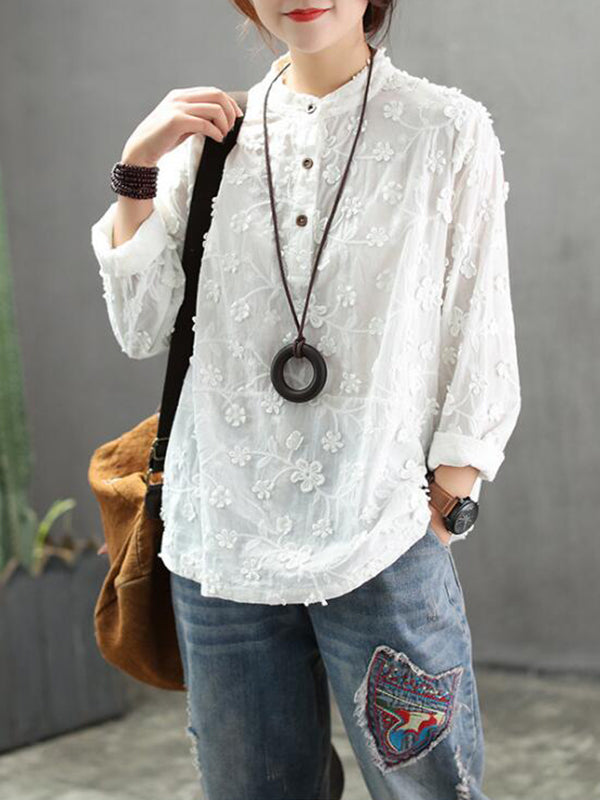 Lenora Stand Neck Vintage Embroidered Shirt