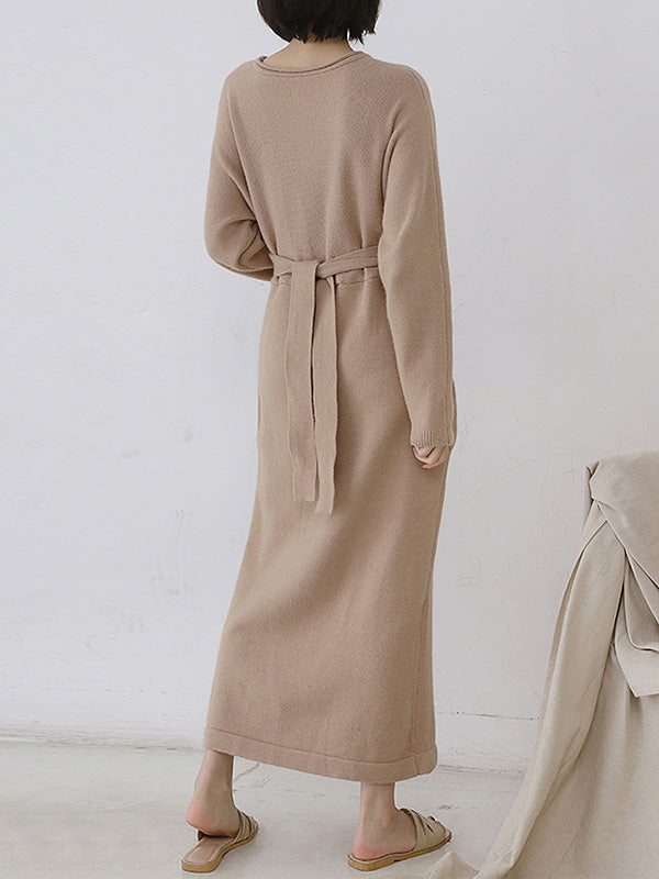 Knot Or Not Belts Beige Sweater Dress