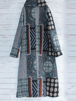 Retro Print Stand Collar A-Line Dress