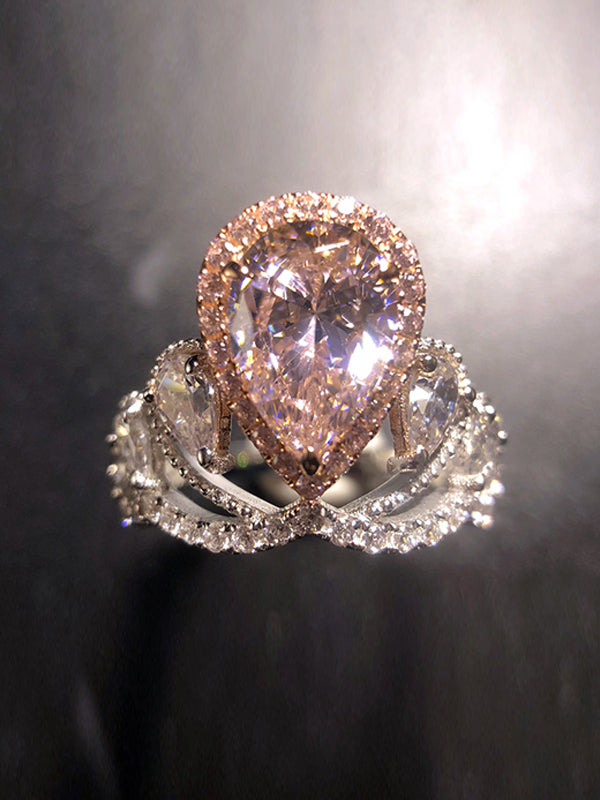 Inez Crown Pink Sapphire Ring with Drops
