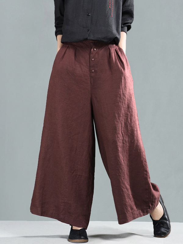 Emilia Vintage Pure Color Buttoned Baggy Linen Wide Leg Pants