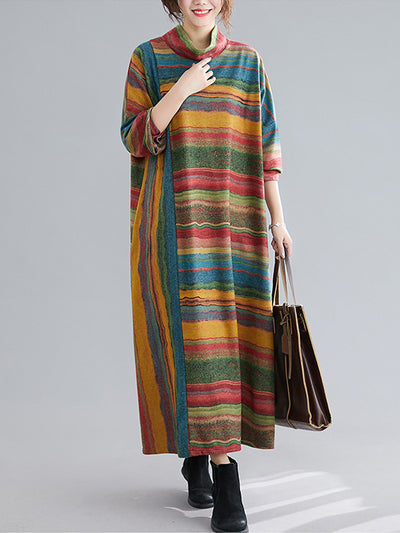 Desert Art High-Neck Cotton Midi Dress