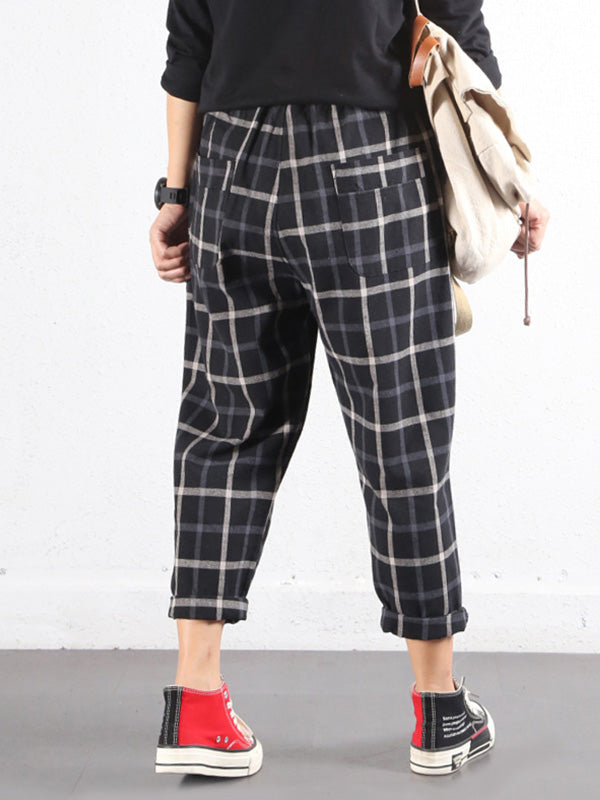 Plaids Cotton & Linen Trouser Pants