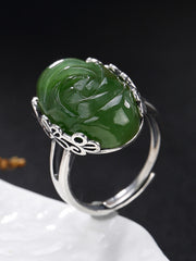 Minnie Vintage Silver Jade Ring with Floral Carvings
