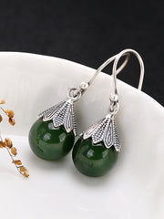 Wilma Vintage Jade Earrings in Spherical Green
