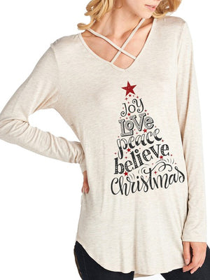 Crossover V-Neck Shirt with Christmas Manifesto