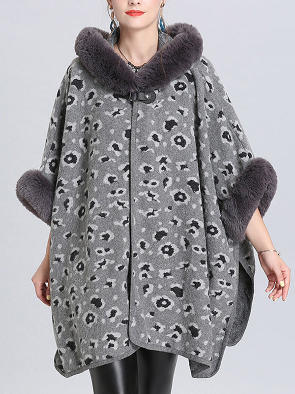 My Favorite Flutter Fluffy Neck Plus Size Cape Cardigan