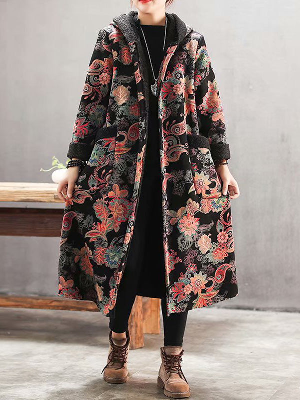 Last Control Floral Art Cotton Coat