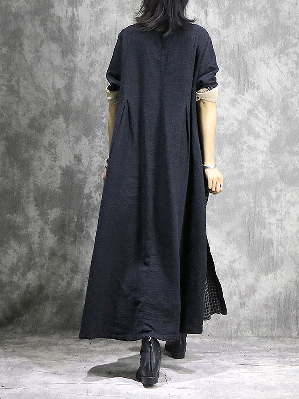 Patrice Stand Neck Cotton & Linen Color-hitting Shirt Dress