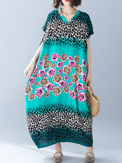 Leopard Fill-In Flower Candy Plus Size Kaftan Dress