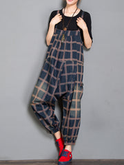 Colleen Denim Harem Overall Dungarees with Plaids Prints