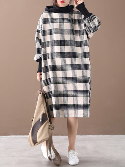 Don't Lose Sight Plaid Print High-Neck Midi Dress
