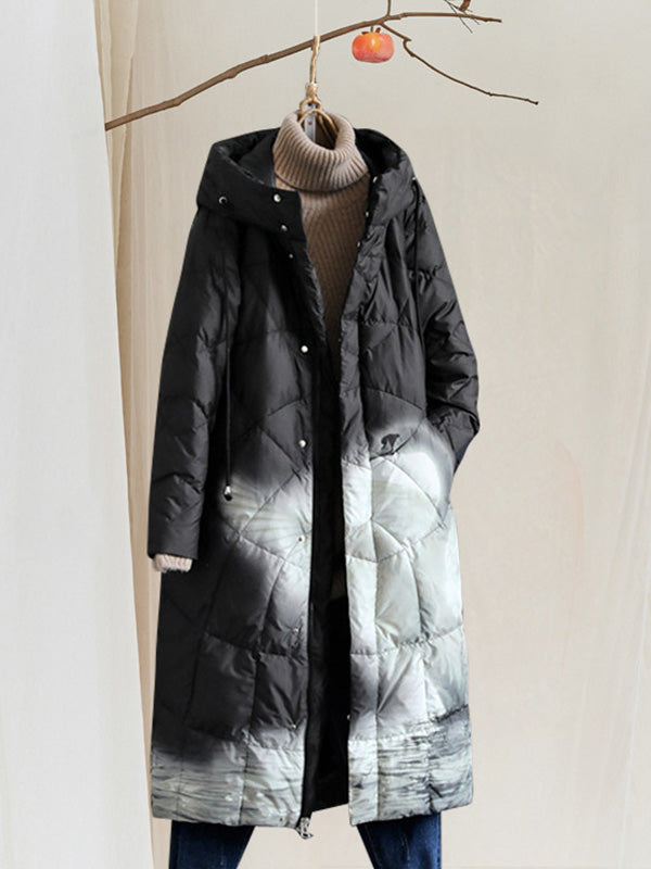 Sherry Round Neck Hooded Quilted Down Overcoat with Landscape Prints
