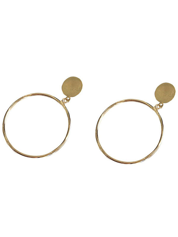Round Disc Circle Earrings
