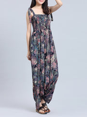 It's Still Here Abstract & Floral Print Elasticated Jumpsuit