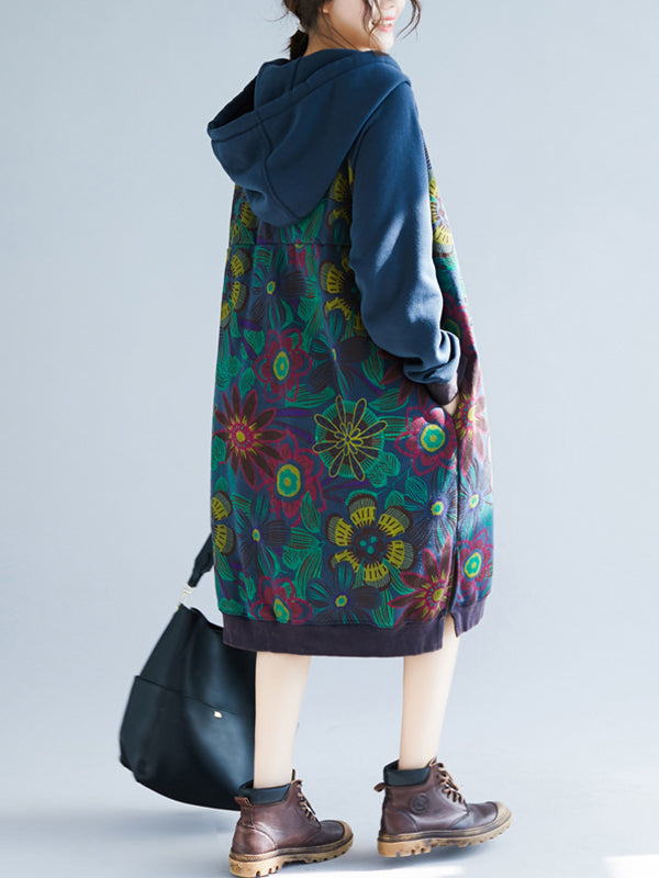 Irma Ethnic Drawstring Hooded Sweatshirt Dress with Floral Prints