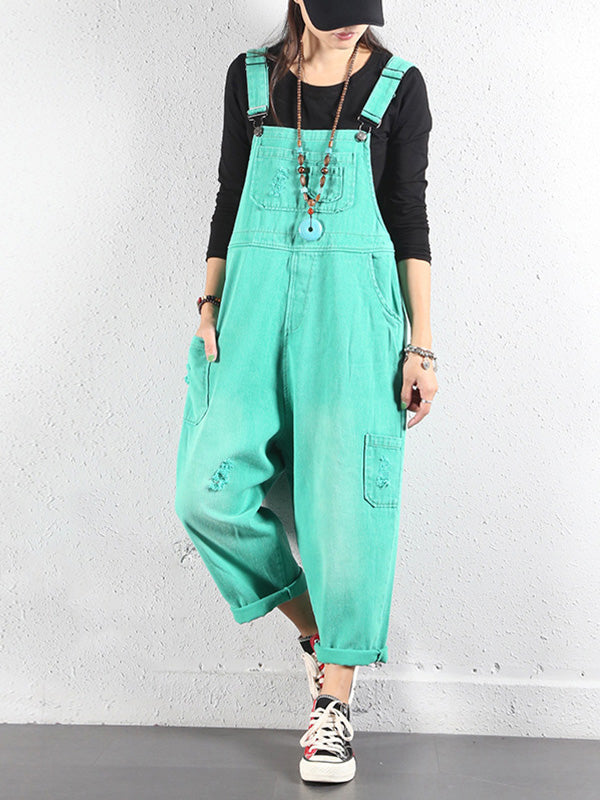 Cropped Adjustable Strap Overalls Dungarees with Side Pocket