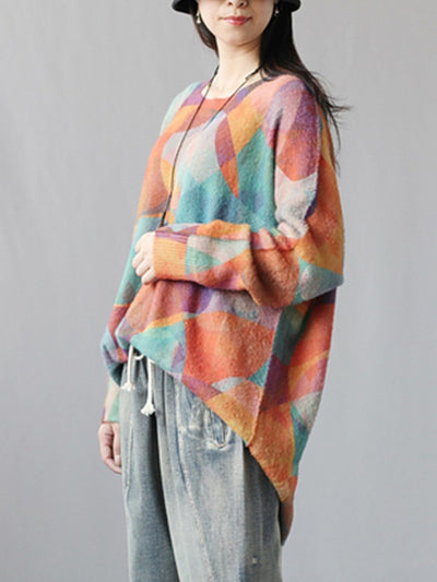 Mix-color Full Sleeve Sweater