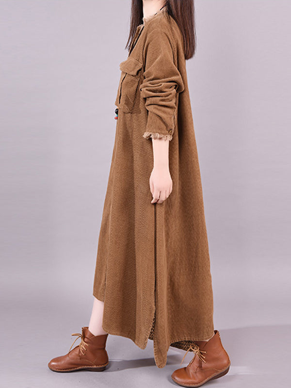 Abbigayle Round Neck Solid Color Pocket Cotton Shirt Dress