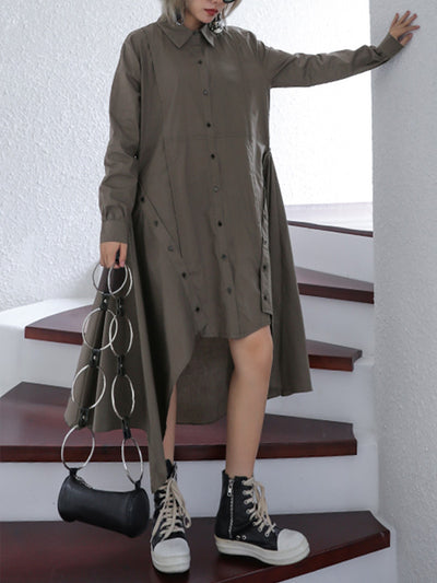 High-Low Button Cotton Shirt Dress
