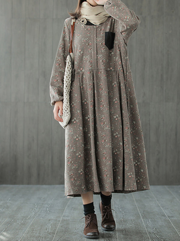 Terry Round Neck Vintage Cotton Midi Dress with Shivering Prints