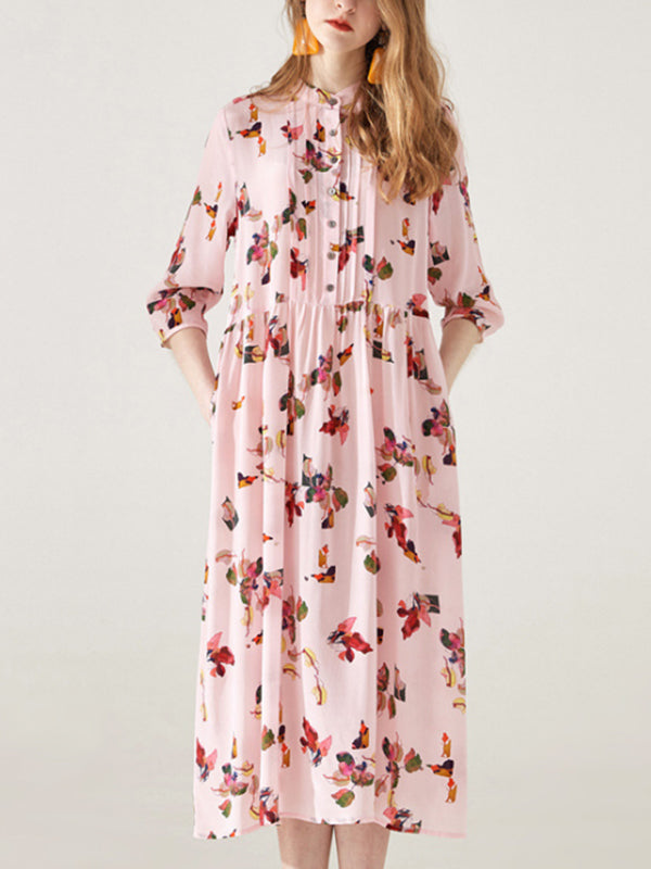 Lennon Pink Mulberry Silk Midi Dress