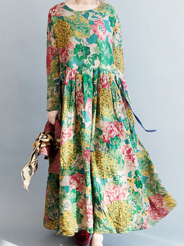 Floral Ruffled Skirt Maxi Dress
