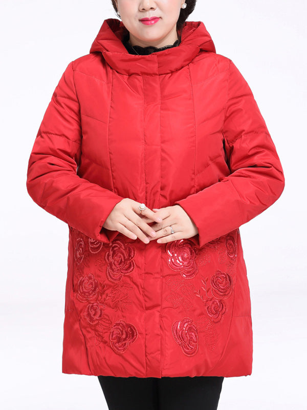 Stella Hooded Solid Color Quilted Down Coat with Floral Sequins