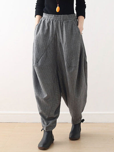 Thickening Striped Lantern Pants