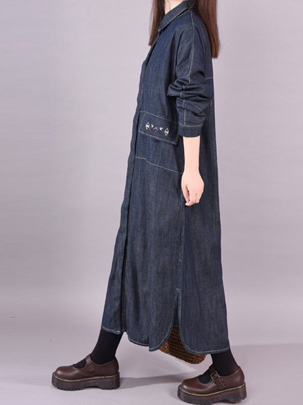 Abby Polo Neck Pure Color Pocket Denim Shirt Dress