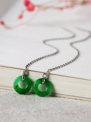 Jeanne Chain Jade Ear Pendant with Peace Buckle
