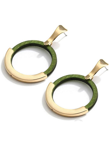 Wood Hoop Round Earrings