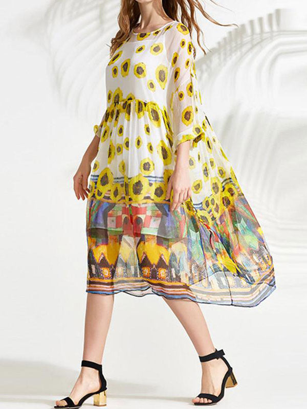 Yellow Flower Print Smock Dress