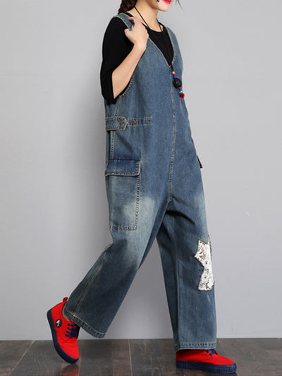 Twill Patched Overall Dungarees