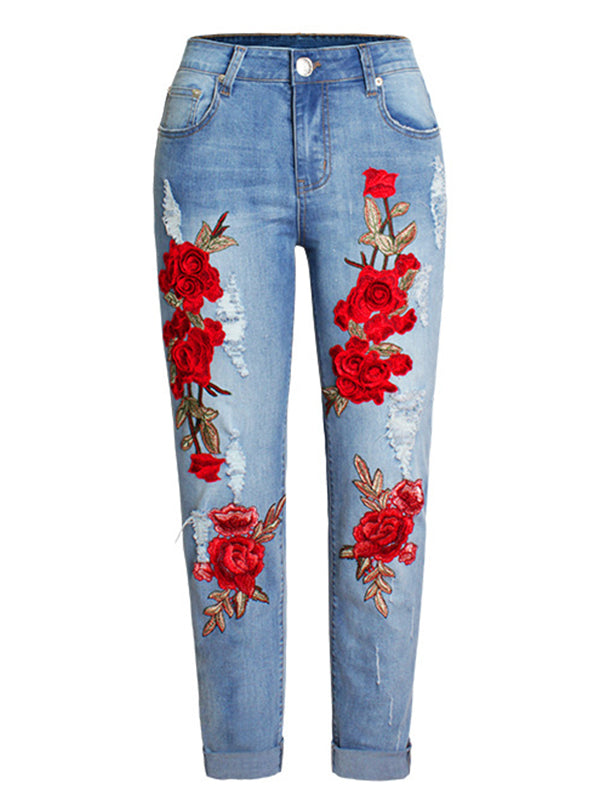 Red Flower Jeans