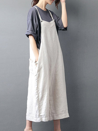 Plain Linen Overall Dungarees