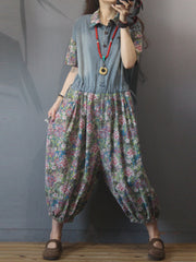 Always and Forever Floral Print Denim Overall Jumpsuit