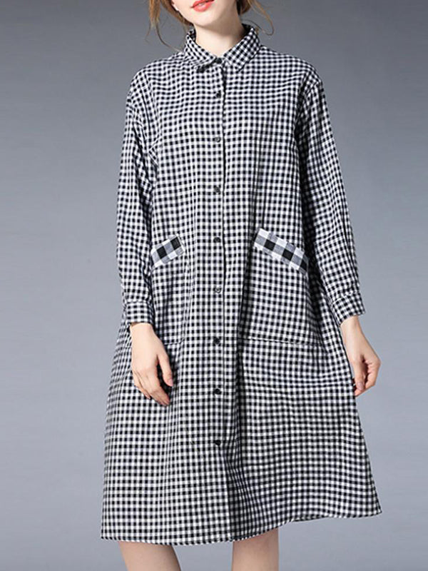 Gingham Black Shirt Dress