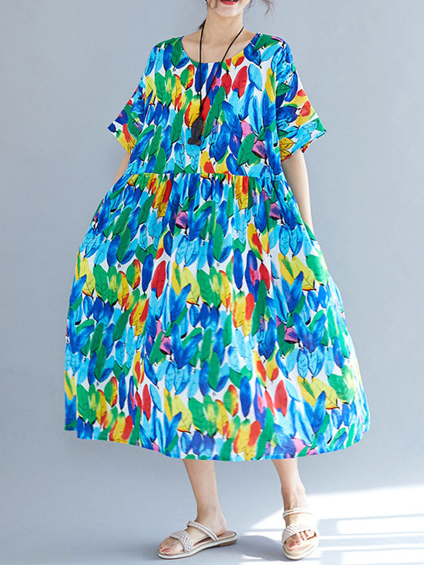 Flying Feather Cotton Smock Dress