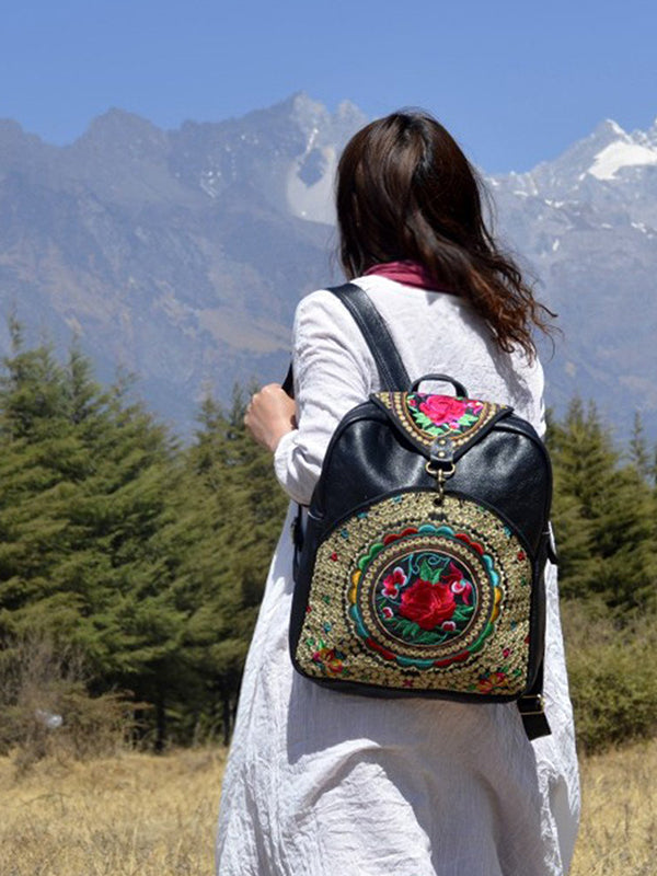 Ethnic Hand-Embroidered Leather Backpack