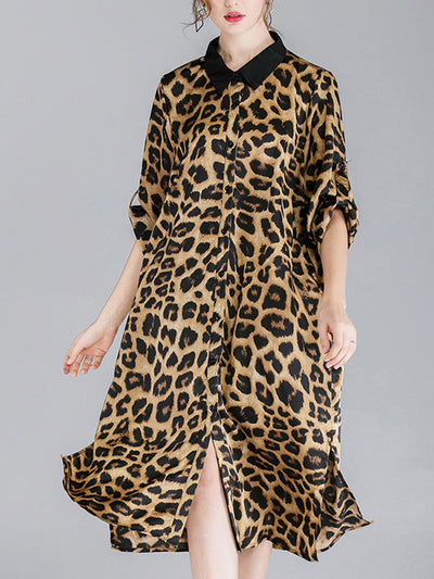 Ivy Vintage Contrasting Lapel Neck Animal Print Buttoned Belted Midi Dress